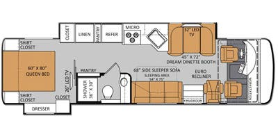 Find Specs for 2014 Thor Motor Coach - Palazzo <br>Floorplan: 33.2 (Class A)