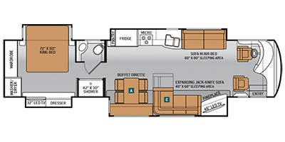 Find Specs for 2014 Thor Motor Coach - Tuscany XTE <br>Floorplan: 40GQ (Class A)