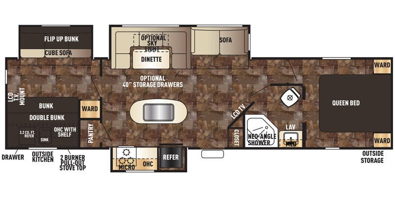Find Specs for 2015 Forest River - Cherokee <br>Floorplan: 304BH (Travel Trailer)