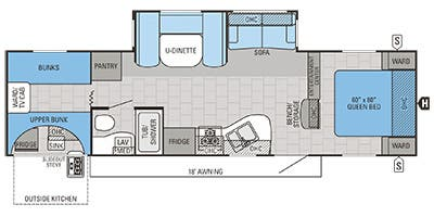 Find Specs for 2015 Jayco - Jay Flight <br>Floorplan: 29QBS (Travel Trailer)