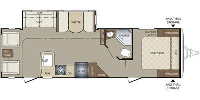 Find Specs for 2015 Keystone - Bullet <br>Floorplan: 285RLS (Travel Trailer)