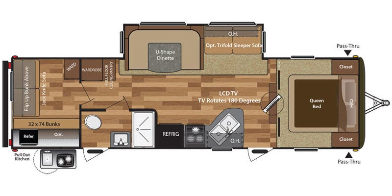 Find Specs for 2017 Keystone - Hideout <br>Floorplan: 29BHS (Travel Trailer)
