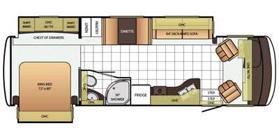 Find Specs for 2015 Newmar - Bay Star <br>Floorplan: 3124 (Class A)