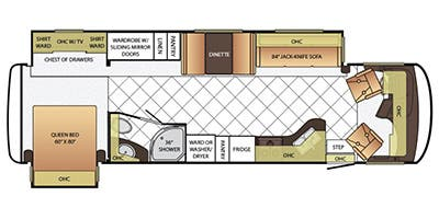 Find Specs for 2015 Newmar - Canyon Star <br>Floorplan: 3424 (Class A)