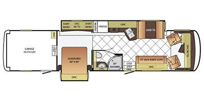 Find Specs for 2015 Newmar - Canyon Star <br>Floorplan: 3921 (Toy Hauler)