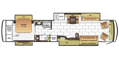 Find Specs for 2015 Newmar - Ventana <br>Floorplan: 4360 (Class A)