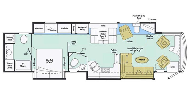 Find Specs for 2016 Itasca - Ellipse <br>Floorplan: 42QL (Class A)