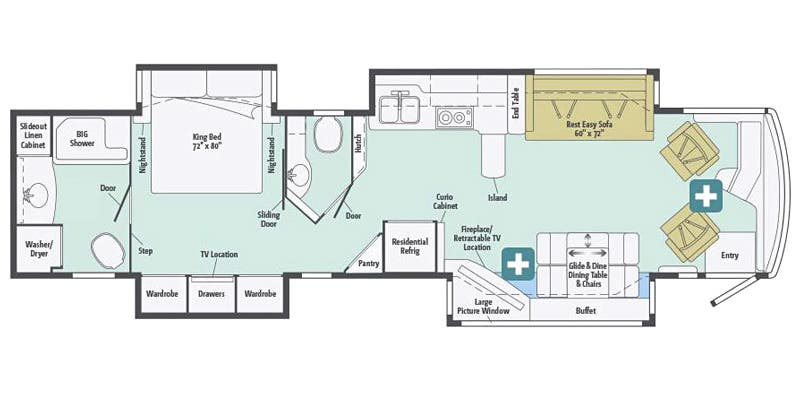 Find Specs for 2016 Itasca - Ellipse <br>Floorplan: 42HD (Class A)