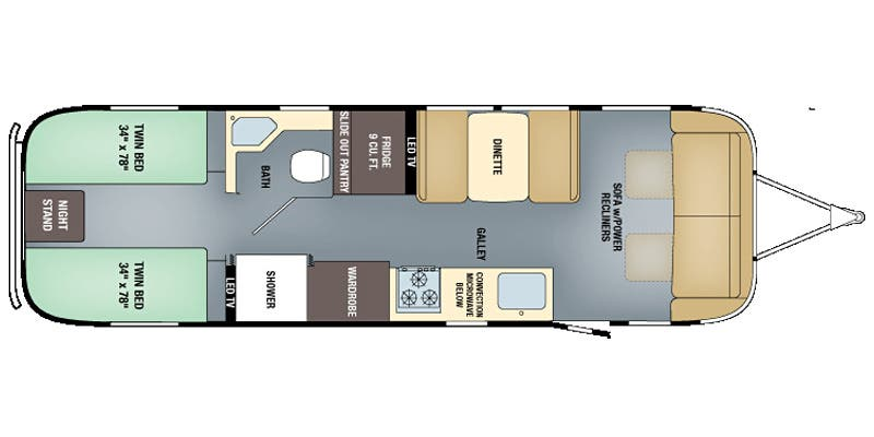 Find Specs for 2017 Airstream - Classic <br>Floorplan: 30 Twin (Travel Trailer)