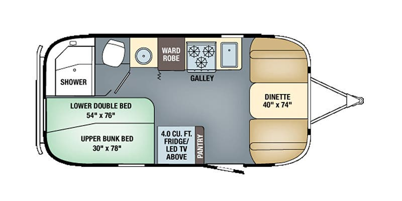 Find Specs for 2016 Airstream - Flying Cloud <br>Floorplan: 19 Bunk (Travel Trailer)