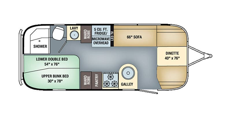 Find Specs for 2016 Airstream - Flying Cloud <br>Floorplan: 23D Bunk (Travel Trailer)