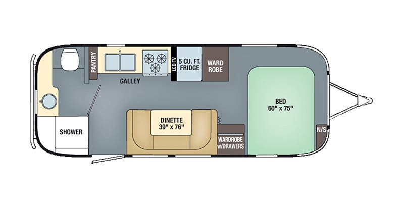 Find Specs for 2016 Airstream - International Serenity <br>Floorplan: 23FB (Travel Trailer)