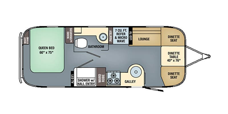 Find Specs for 2016 Airstream - Flying Cloud <br>Floorplan: 25 (Travel Trailer)
