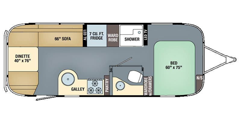 Find Specs for 2016 Airstream - Flying Cloud <br>Floorplan: 25FB (Travel Trailer)