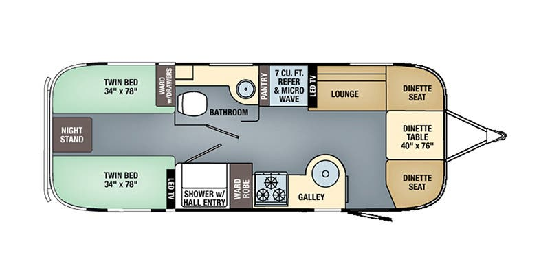 Find Specs for 2017 Airstream - Flying Cloud <br>Floorplan: 25 Twin (Travel Trailer)
