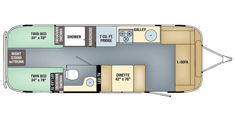 Find Specs for 2017 Airstream - Flying Cloud <br>Floorplan: 28 Twin (Travel Trailer)