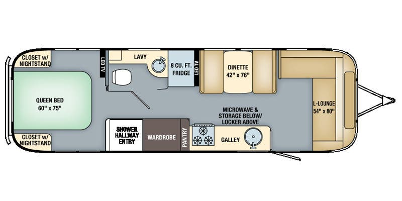 Find Specs for 2016 Airstream - Flying Cloud <br>Floorplan: 30 (Travel Trailer)