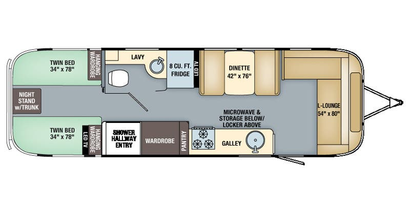 Find Specs for 2016 Airstream - Flying Cloud <br>Floorplan: 30 Twin (Travel Trailer)