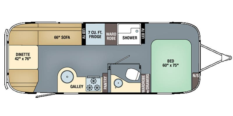 Find Specs for 2016 Airstream - International Serenity <br>Floorplan: 25FB (Travel Trailer)