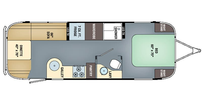 Find Specs for 2016 Airstream - International Signature <br>Floorplan: 27FB (Travel Trailer)