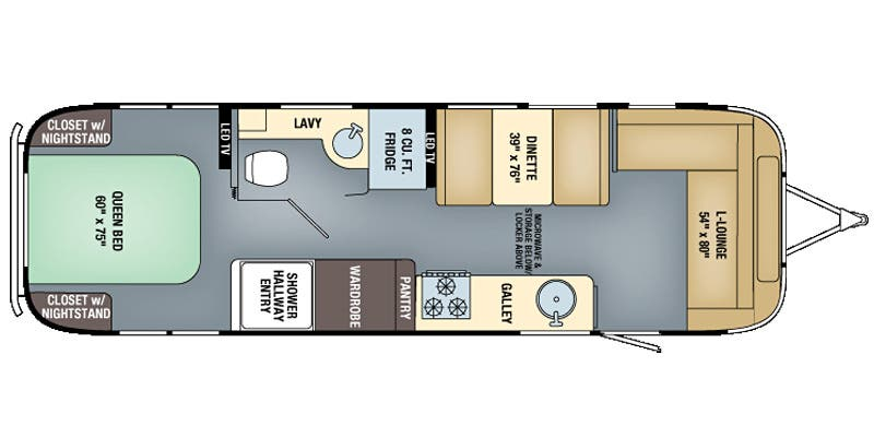Find Specs for 2017 Airstream - International Serenity <br>Floorplan: 30 (Travel Trailer)