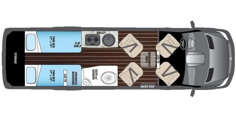 Find Specs for 2017 Airstream - Interstate <br>Floorplan: Lounge EXT Twin (Class B)
