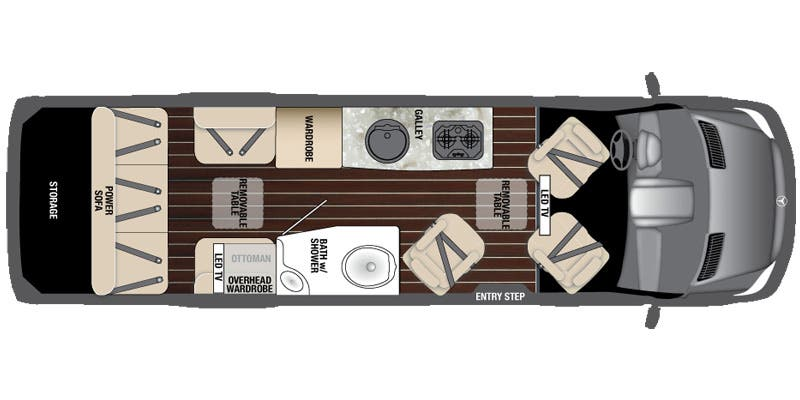 Find Specs for 2016 Airstream - Interstate <br>Floorplan: Lounge EXT Wardrobe (Class B)