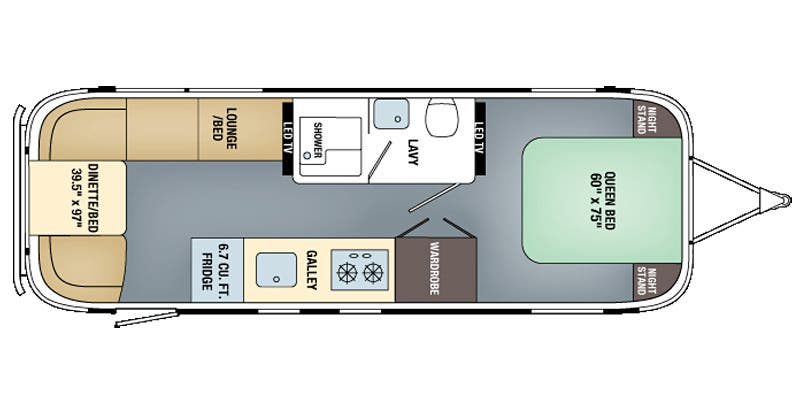 Find Specs for 2016 Airstream - Land Yacht <br>Floorplan: 28FB (Travel Trailer)