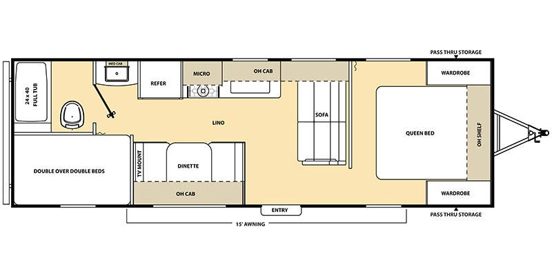 Find Specs for 2016 Coachmen - Catalina SBX <br>Floorplan: 261BH (Travel Trailer)
