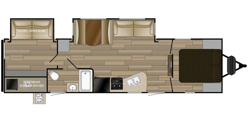 Find Specs for 2017 Cruiser RV - MPG <br>Floorplan: 3100BH (Travel Trailer)