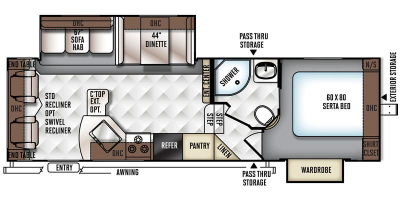 Find Specs for 2016 Forest River - Rockwood Ultra Lite <br>Floorplan: 2720WS (Fifth Wheel)