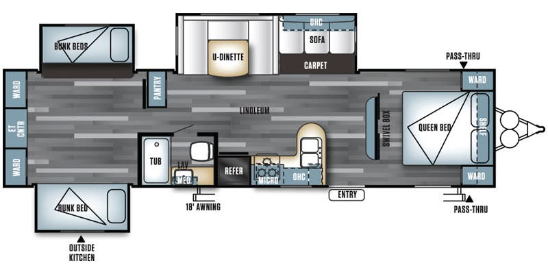 Find Specs for 2016 Forest River - Salem <br>Floorplan: T31KQBTS (Travel Trailer)