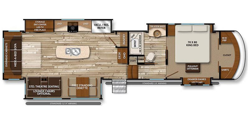 Find Specs for 2017 Grand Design - Solitude <br>Floorplan: 384GK (Fifth Wheel)
