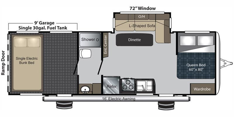 Find Specs for 2016 Keystone - Carbon <br>Floorplan: 27 (Toy Hauler)