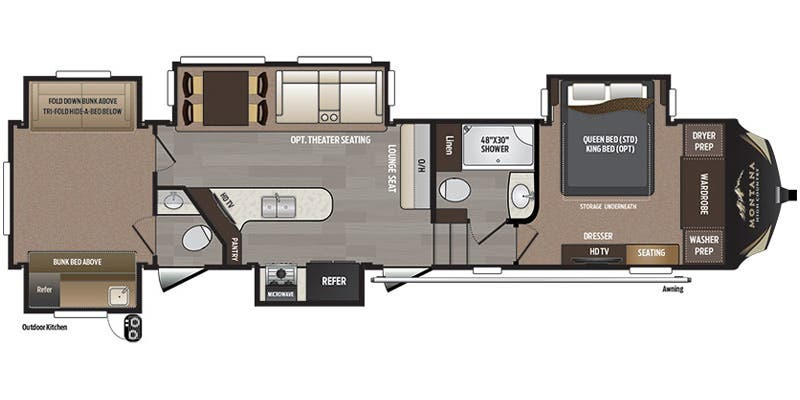 Full specs for 2017 keystone montana high country 358bh for Montana floor plans