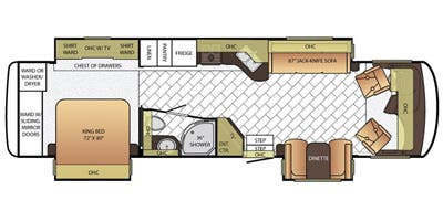 Find Specs for 2016 Newmar - Canyon Star <br>Floorplan: 3712 (Class A)