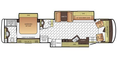 Find Specs for 2016 Newmar - Canyon Star <br>Floorplan: 3755 (Class A)