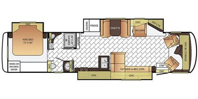 Find Specs for 2016 Newmar - Canyon Star <br>Floorplan: 3914 (Class A)