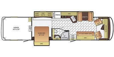 Find Specs for 2016 Newmar - Canyon Star <br>Floorplan: 3921 (Toy Hauler)