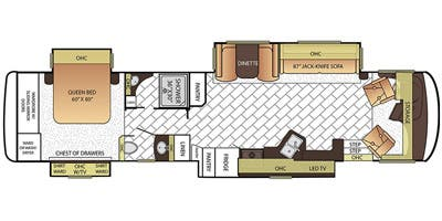 Find Specs for 2016 Newmar - Canyon Star <br>Floorplan: 3944 (Class A)