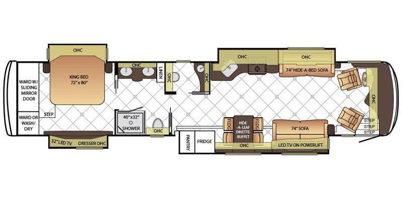 Find Specs for 2016 Newmar - Dutch Star <br>Floorplan: 4381 (Class A)