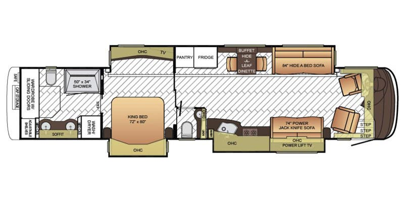 Find Specs for 2016 Newmar - Essex <br>Floorplan: 4519 (Class A)