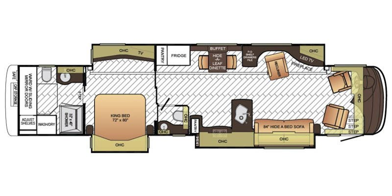Find Specs for 2016 Newmar - Essex <br>Floorplan: 4565 (Class A)
