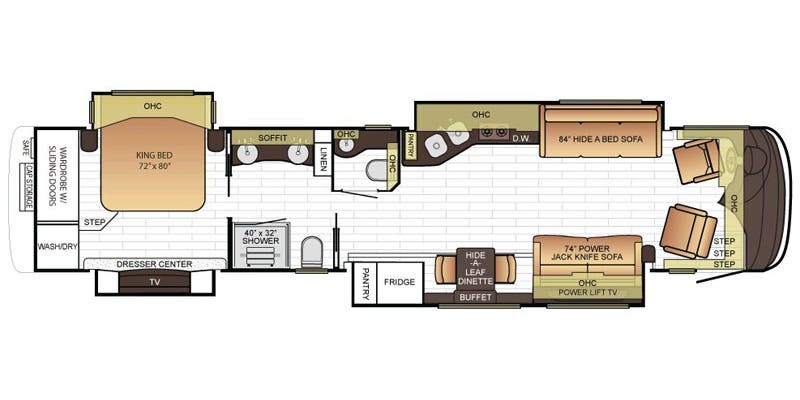 Find Specs for 2016 Newmar - King Aire <br>Floorplan: 4518 (Class A)