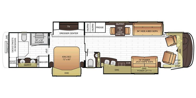 Find Specs for 2016 Newmar - King Aire <br>Floorplan: 4519 (Class A)