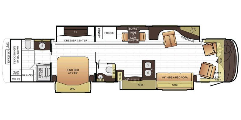 Find Specs for 2016 Newmar - King Aire <br>Floorplan: 4565 (Class A)
