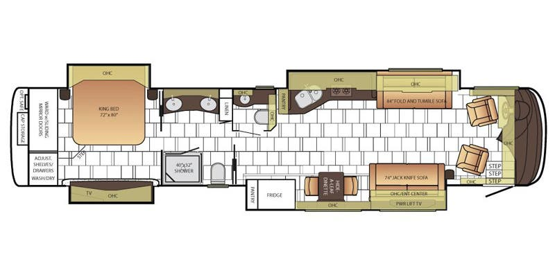 Find Specs for 2016 Newmar - Mountain Aire <br>Floorplan: 4518 (Class A)