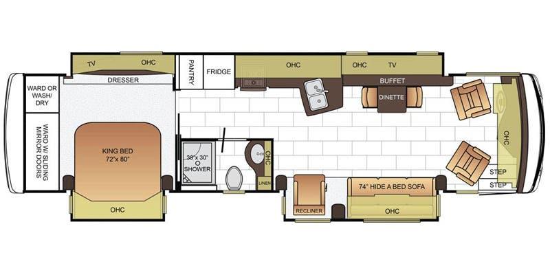 Find Specs for 2016 Newmar - Ventana <br>Floorplan: 3725 (Class A)