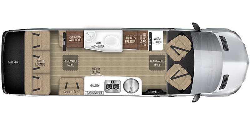Find Specs for 2017 Airstream - Tommy Bahama Interstate <br>Floorplan: Grand Tour (Class B)