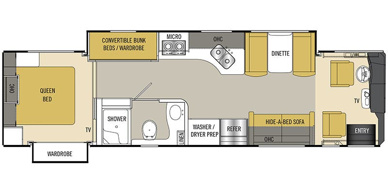 Find Specs for 2017 Coachmen - Cross Country SRS <br>Floorplan: 361BH (Class A)